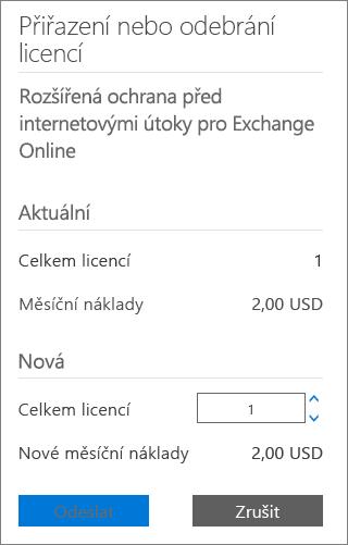Pole s celkovým počtem licencí a tlačítko pro odeslání v dialogovém okně pro přidání nebo odebrání licencí