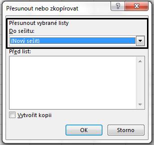 Dialogové okno přesunout nebo zkopírovat