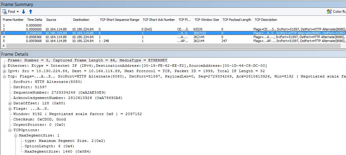Trasování v síti vyfiltrované v programu Netmon pomocí předdefinovaných sloupců