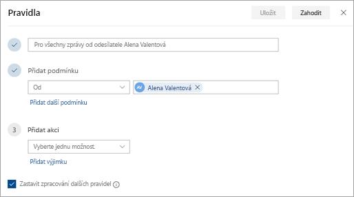 Snímek obrazovky stránky nastavení pravidel