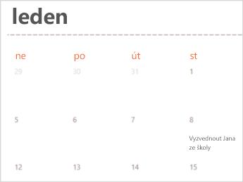 Šablony kalendáře v Excelu Online