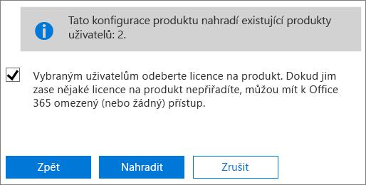 Toto políčko zaškrtněte, když chcete vybraným uživatelským účtům odebrat všechny licence.