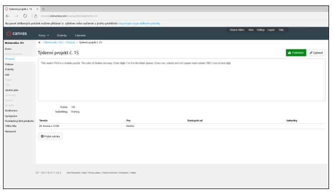 Snímek obrazovky s 15. týdenním projektem v systému Canvas