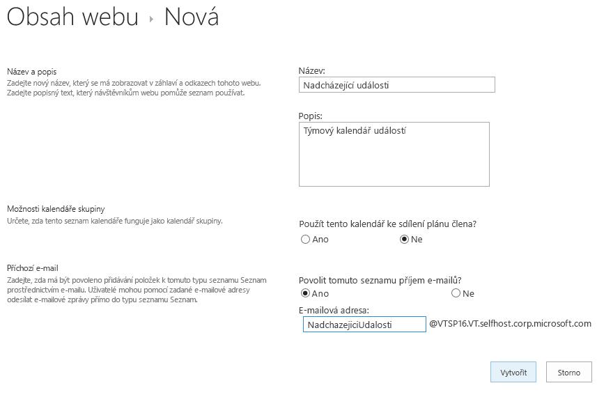 Obrazovka nová aplikace s vyplněnými poli