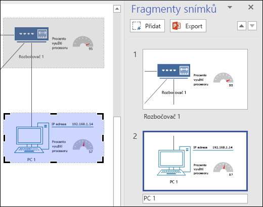 Snímek obrazovky spodoknem fragmentů snímků ve Visiu, ve kterém se zobrazují náhledy dvou snímků