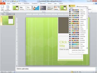 Theme colors menu