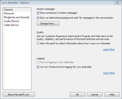 Dialogové okno možností aplikace Attendee
