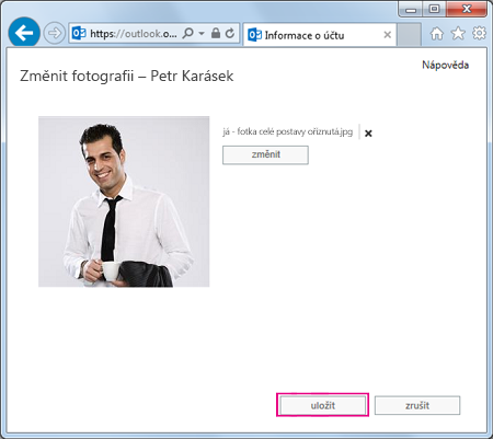 Snímek obrazovky Změnit obrázek se zvýrazněnou možností Uložit