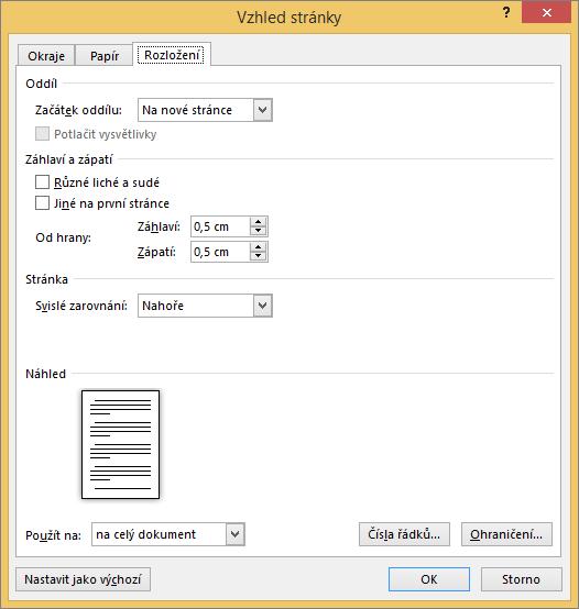 Karta Rozložení v dialogovém okně Vzhled stránky