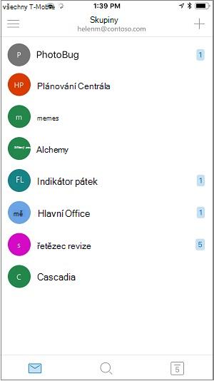 Domovská obrazovka mobilní aplikace skupiny