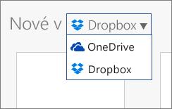 Obrázek znázorňující Dropbox přidaný do míst, kde můžete vytvářet nové soubory v Office Online