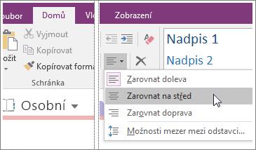 Snímek obrazovky s tlačítkem Zarovnání odstavce ve OneNotu 2016