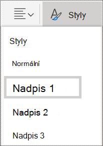 Možnosti stylů nadpisu ve OneNotu Online