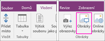 Snímek obrazovky s tlačítkem Vložit obrázky ve OneNotu 2016