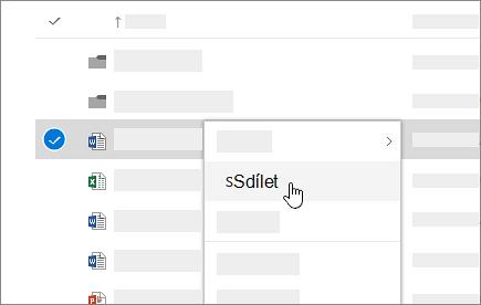 Snímek obrazovky s místní nabídkou v online OneDrivu pro firmy