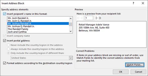 Dialogové okno Vložit blok adresy