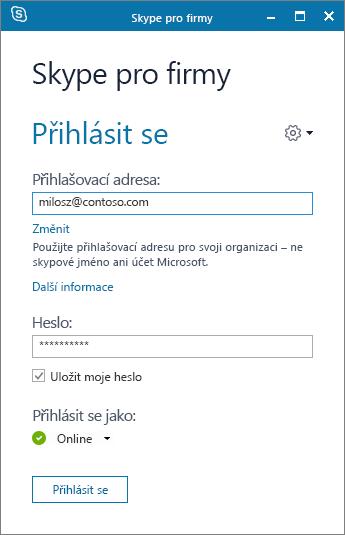 Snímek obrazovky s přihlašovací obrazovkou Skypu pro firmy.