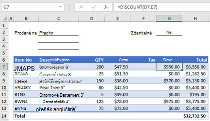 Formulář objednávky příklad vlastních funkcí