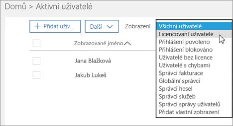 Pomocí rozevíracího seznamu vyfiltrujte seznam uživatelů.