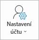 Tlačítko nastavení účtu v Outlooku