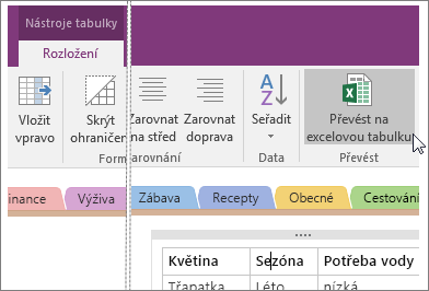 Snímek obrazovky s tlačítkem Převést na excelovou tabulku ve OneNotu 2016