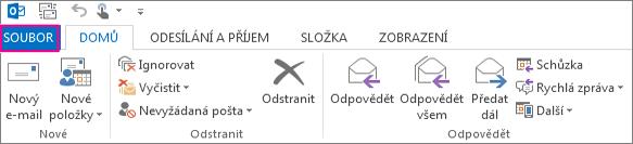 Takto vypadá pás karet desktopového Outlooku.