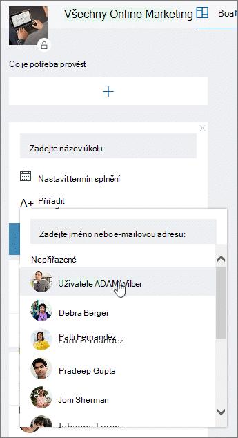 Přiřazení uživatele při vytváření nového úkolu