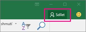 Ikona Sdílet na pásu karet v Excelu 2016 pro Windows
