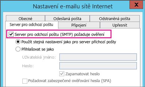 Vyberte Server pro odchozí poštu požaduje ověření.