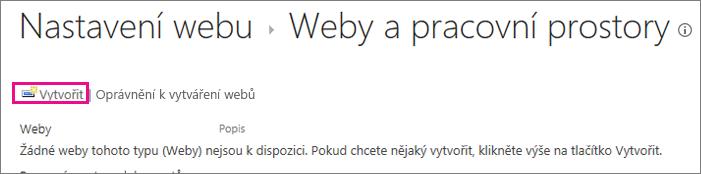 Odkaz vytvořit web v dialogovém okně weby a pracoviště