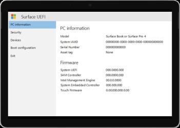Novější verze obrazovky Surface UEFI