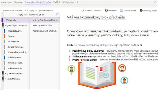 Studentský poznámkový blok předmětu otevřený v aplikaci Teams