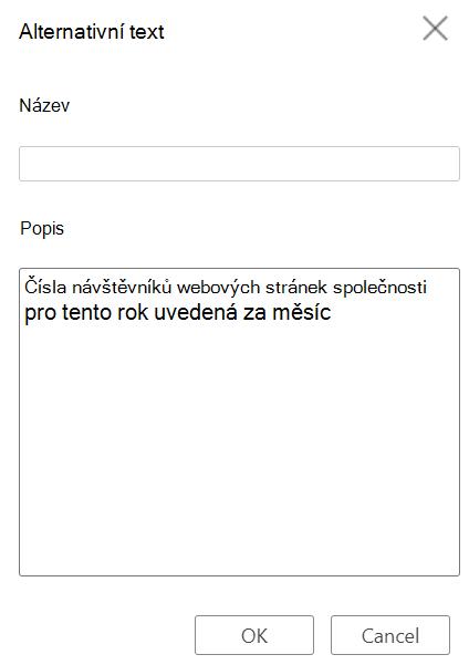 Dialogové okno Alternativní text tabulky ve Wordu pro web