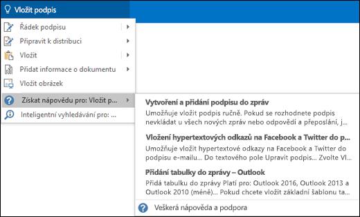 Do pole Řekněte mi v Outlooku napište, co chcete udělat, a pole Řekněte mi vám s tímto úkolem pomůže.