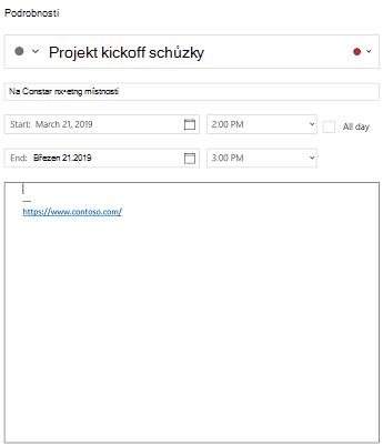 Kalendář pro zobrazení podrobností o události Windows 10