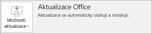Snímek obrazovky s aktualizacemi Office v účtu aplikace Office