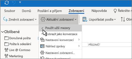 Tlačítko Aktuální zobrazení s vybranou položkou Použít menší mezery