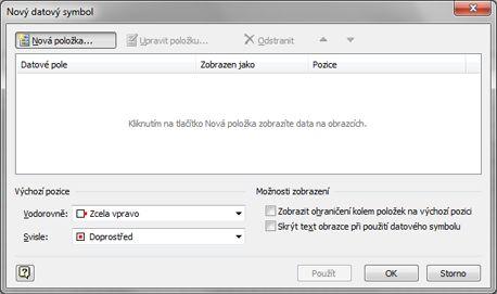 Dialogové okno Nový datový symbol.