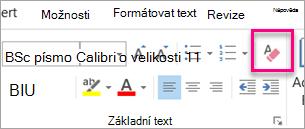 Vymazat veškeré formátování ikona zvýrazněná na kartě zpráva