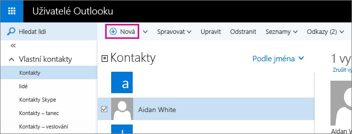 Snímek obrazovky s panelem nástrojů na stránce Lidé v Outlooku s popiskem pro příkaz Nový