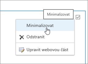 Nabídka Webová část se zvýrazněnou možností pro minimalizaci