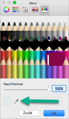 Dialogové okno barvy obsahuje nástroj kapátko.