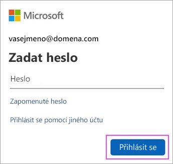 Zadejte svoje heslo pro Outlook.com.