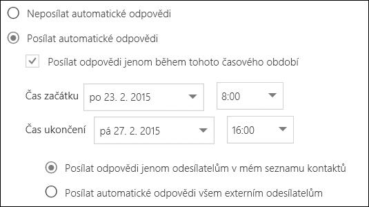 Outlook na webu: nastavení času automatických odpovědí
