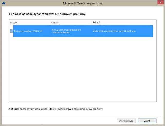 Snímek obrazovky s dialogovým oknem zobrazujícím 1 položku, která nejde synchronizovat s OneDrivem pro firmy, protože virový skener na serveru našel problém se souborem