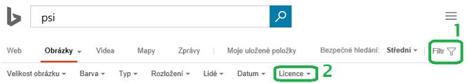 Klikněte na tlačítko Filtr u pravého okraje okna a potom klikněte na nabídku pro filtr Licence.