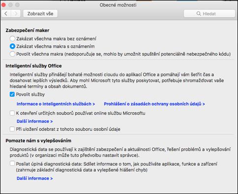 Povolení inteligentních funkcí na Macu