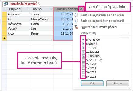 Filtrování sloupce dotazu v databázi v počítači.