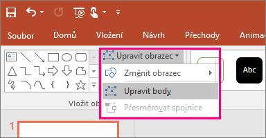 Zobrazuje možnost Upravit body v nabídce Upravit obrazec na kartě Nástroje kreslení v PowerPointu.