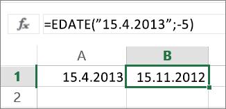 Odečtení měsíců od kalendářního data